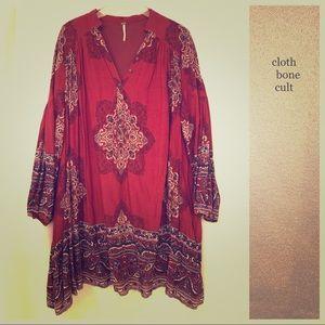 FREE PEOPLE 🌼Long-Sleeved Boho Print DRESS